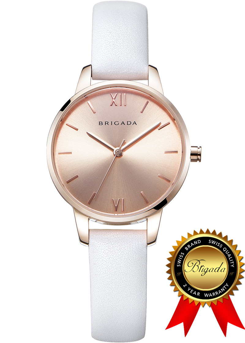 BRIGADA Elegant Nice Fashion Rose Gold Ladies Watches, Swiss Brand White Dress Watch for Women росмэн книга с крупными буквами три поросенка