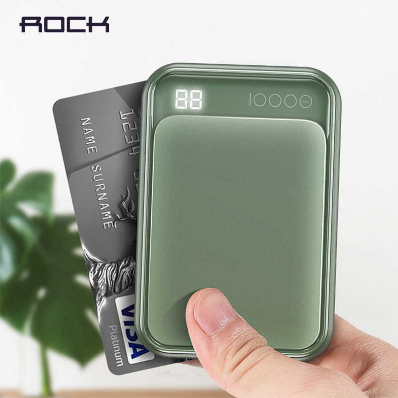 ROCK LED mi ni Power Bank 10000mAh PD3.0 QC3.0 Di Động Pin Ngoài Poverbank Cho Iphone XS MAX Samsung S9 tiểu Mi Mi PD 3.0
