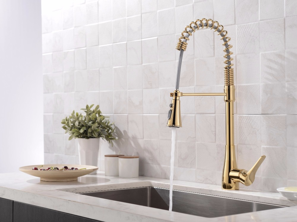 US $316.59 |Luxury gold Brass Singel Lever Tall Pull Down golden Kitchen  Faucet with Retractable Pull Out Wand Sprayer Head Swivel Spout-in Kitchen  ...