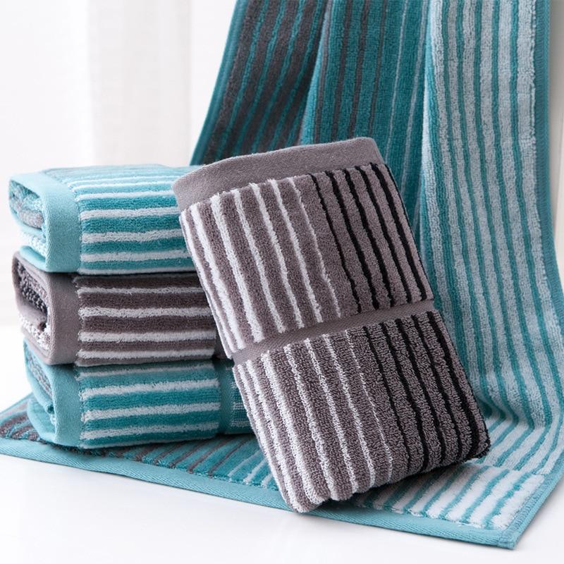 1 stks 34 * 76 cm Mannen Gestreepte Zachte Gezicht Handdoek Katoen Haar Hand Badkamer Handdoeken badlaken toalla Toallas Mano Gift 42102