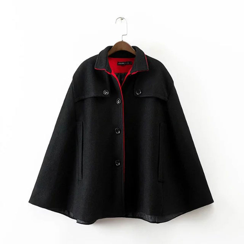 Black Wool Cape Coat Promotion-Shop for Promotional Black Wool ...