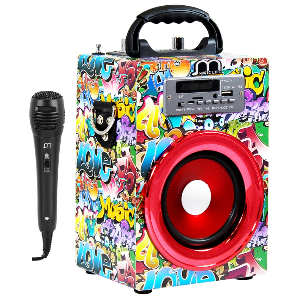 Bluetooth Speaker with Karaoke Wireless Handsfree with FM Radio MP3 Portable High Power for party BBQ bluetooth speaker karaoke portable with microphone mp3 fm radio usb tf card rechargeable high power