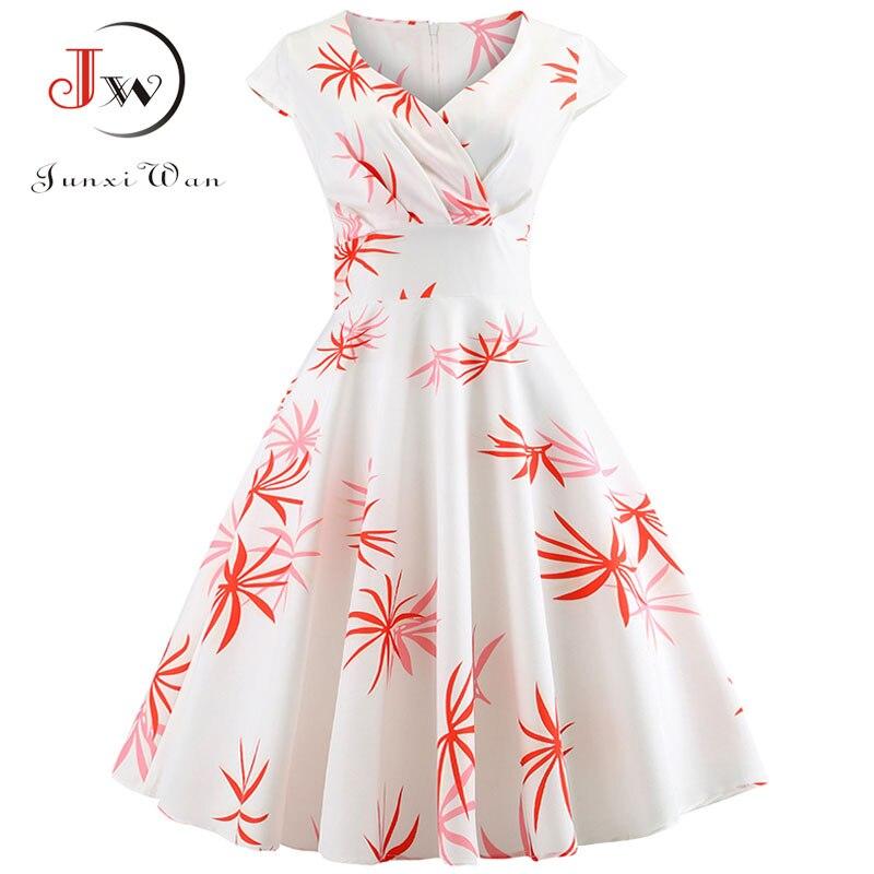 50s Vintage Dress Floral Print Summer Dress Women  Short Sleeve Tunic Elegant Rockabilly Party Dresses Sundress Plus Size