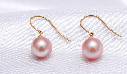1 paire 10 mm Genuine Natural Rose Jade Silver Dangle Boucles d/'oreilles AAA