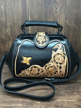Hand carved flower butterful Genuine Leather women bags Handmade art carving flower vintage handbags women leather handbags