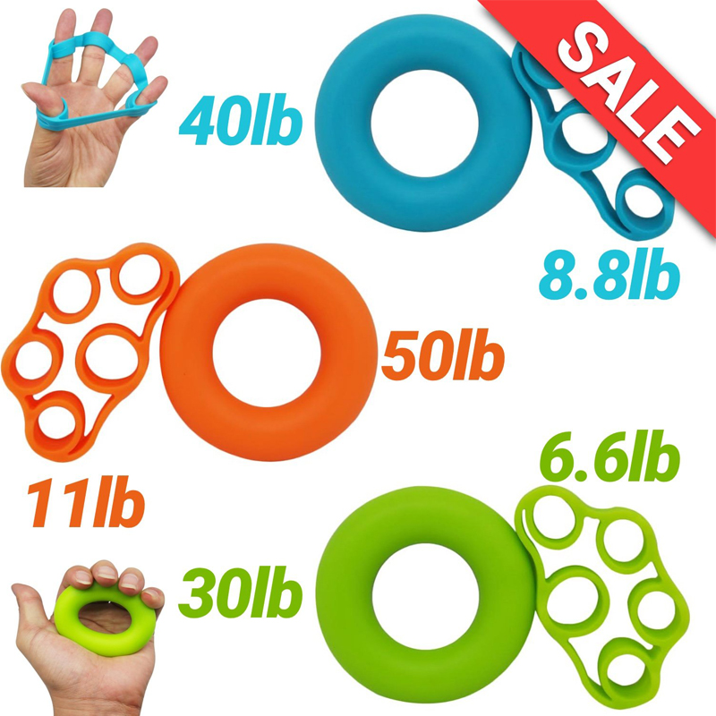 Finger Pull Ring+Resistance Bands For Training Rubber Loop Pull Ring Hand Grip Expander Forearm Wrist Training Carpal Fitness