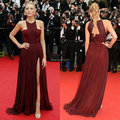 Top aberto voltar borgonha Chiffon de fenda vestidos Blake Lively tapete vermelho vestido 2014