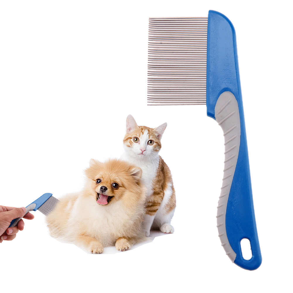 Dog Comb For Dogs Cats Hair Removal Single Row Straight Comb Puppy Hair Grooming Tool Stainless Steel 40 Pins Cleaning