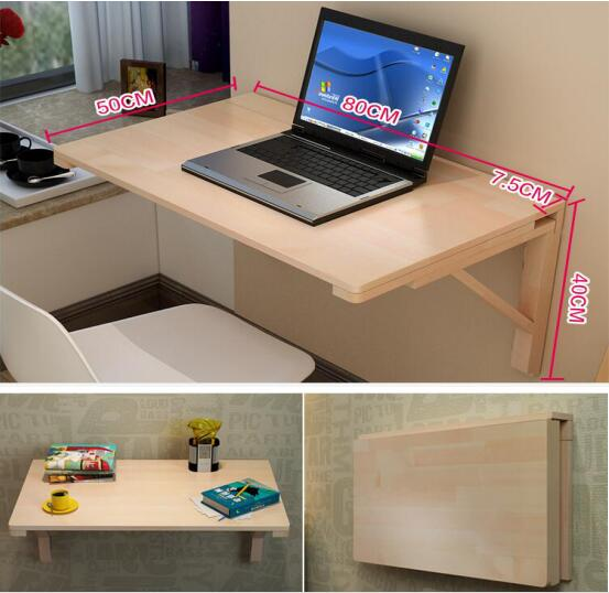 80*50 CM bureau d'ordinateur portable mural en bois massif bureau pliant Table d'apprentissage polyvalente
