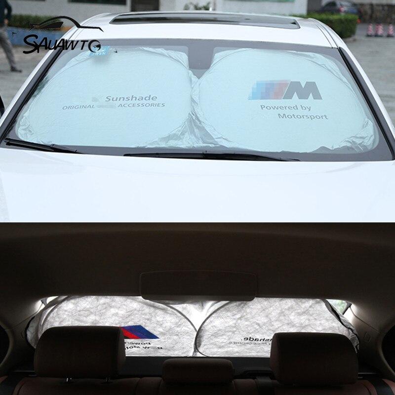 1 PCS Para BMW E90 F30 F10 F15 E60 E63 E64 E65 E86 E89 E85 E91 E92 E93 F01 F02 M5 E61 M LOGO Car Sun sombra Sombrinha Frente traseiro