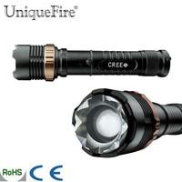 U nique fire V23BสีดำไฟฉายXR-E LED 5โหมดซูมเข้า/ออกแบบชาร์จT Orcheความสว่างสูงแส