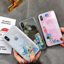 Cute Software APP Music Camera Liquid Quicksand Case Glitter Dynamic Fluid Sand Colorful Star Case for iPhone X 8 7 6s 6 Plus(China)