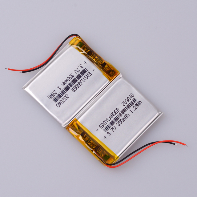 10pcs/Lot 3.7V 350mAh Rechargeable li Polymer Li-ion Battery For Flash lighting DIY DVR GPS Consumer electronics Device  303040 4