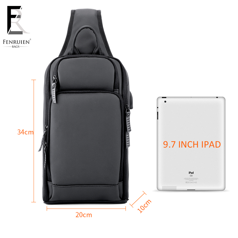Image 5 - FRN 2019 USB Charging Chest Pack Men Casual Shoulder Crossbody Bag Chest Bag Water Repellent Travel Messenger Bag Male Sling Bag-in Waist Packs from Luggage & Bags