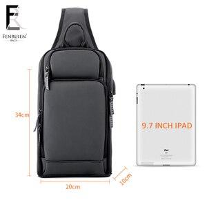 Image 5 - FRN 2019 USB Charging Chest Pack Men Casual Shoulder Crossbody Bag Chest Bag Water Repellent Travel Messenger Bag Male Sling Bag