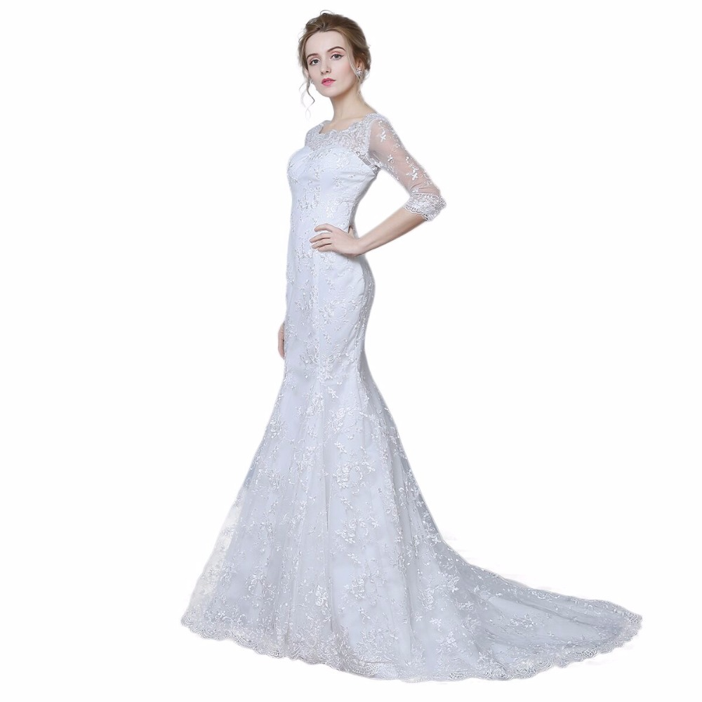 Elegant three quarter sleeve floor length sabrina train for Mermaid wedding dress with train
