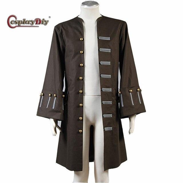 Cosplaydiy Piratas del Caribe disfraz capitán Jack Sparrow Cosplay chaqueta  disfraces de Halloween para hombres abrigo 2ba78428cb2e