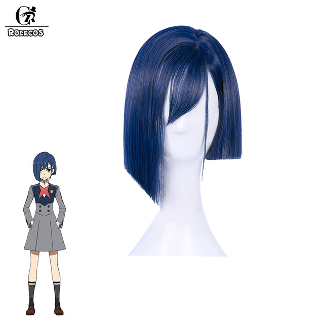 ROLECOS DARLING in the FRANXX Cosplay Headwear 015 CHIGOI Cosplay Synthetic Hair 24cm Blue Short Synthetic Hair for Women