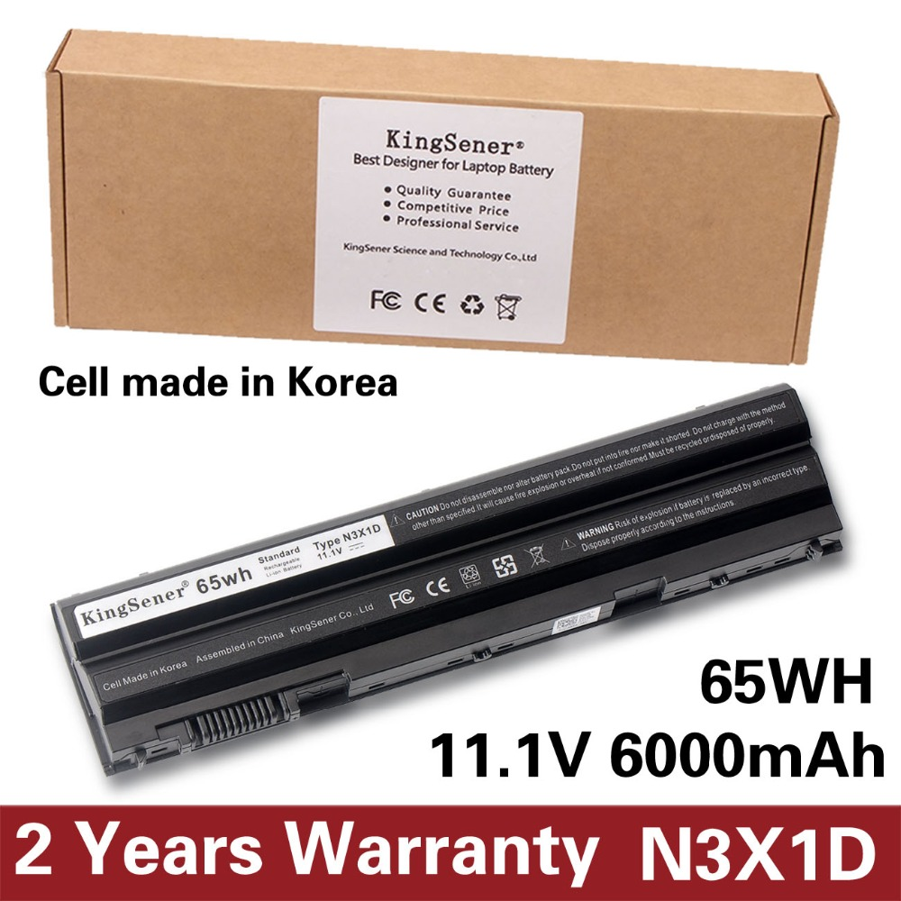KingSener Korea Cell 65WH N3X1D Laptop Battery for DELL Latitude E5420 E5430 E5520 E5530 E6420 E6520 E6430 E6440 E6530 E6540 jigu laptop battery for dell 8858x 8p3yx 911md vostro 3460 3560 latitude e6120 e6420 e6520 4400mah