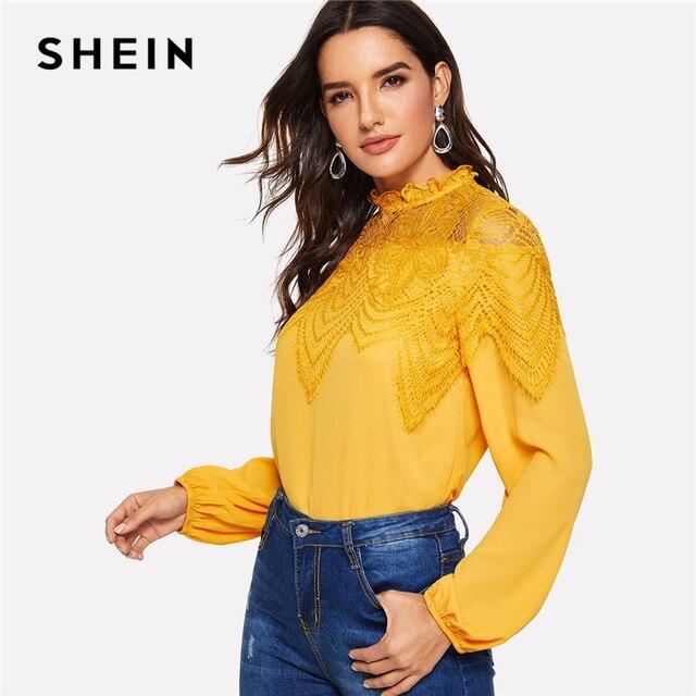 3bbc3960af5b SHEIN Ginger Keyhole Back Lace Insert Mock-neck Ruffle Elegant Blouse Women  Spring Plain Office Lady Solid Workwear Top Blouses
