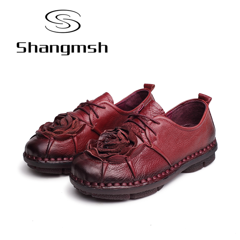 Shangmsh women flat shoes Genuine leather Vintage Flower Loafers 2017 Fashion Cow Muscle Soft Casual Ladies flat shoes ballerina new women shoes breathable fashion ladies flats non slip summer wedges shoes for women aa10218