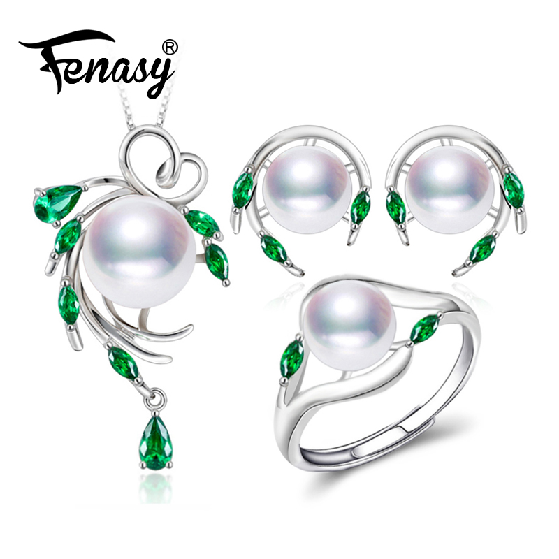 FENASY 925 Sterling Silver Natural Pearl Emerald Jewelry Sets Leaf Earrings Necklace Pendant Engagement Ring Sets For Women FENASY 925 Sterling Silver Natural Pearl Emerald Jewelry Sets Leaf Earrings Necklace Pendant Engagement Ring Sets For Women