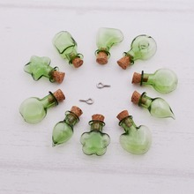 10pieces green color Wish Mini glass Bottle pendant with cork Perfume essential oil vial bottle charms jewelry findings