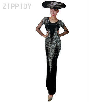 Sparkly Rhinestones Long Dress Black Backless Clothes Women's Birthday Celebrate Female Singer DS Nightclub Mesh Sleeves Outfit