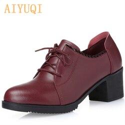 AIYUQI 2019 grande taille 41 42 talons hauts femmes chaussures en cuir véritable naturel rouge dentelle chaussures décontractées femme printemps strass