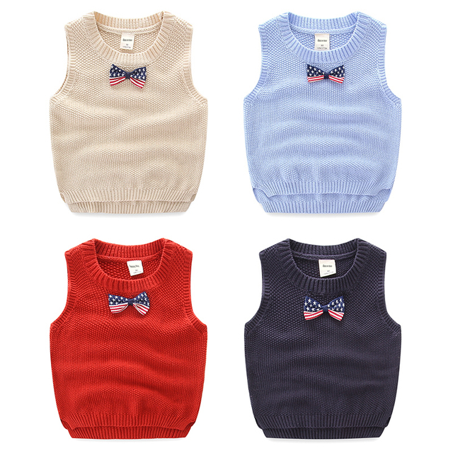 Y Toddler Boys Knitted Vest Spring Autumn Children Sleeveless Sweater With Bow Tie Kids