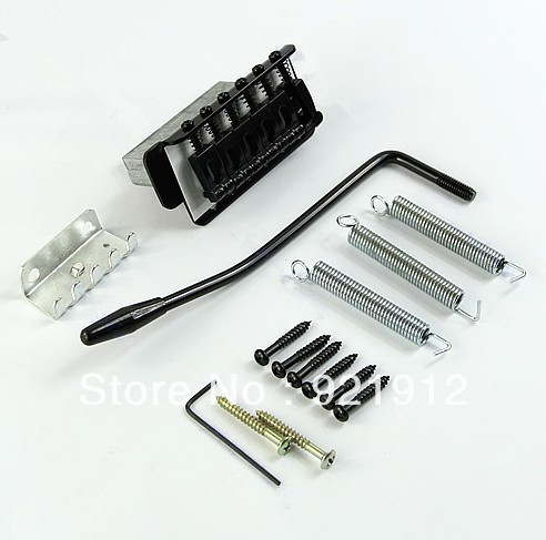 1 Set 6 Strings Electric Guitar Tremolo Bridge Black With Bar For Fender Strat
