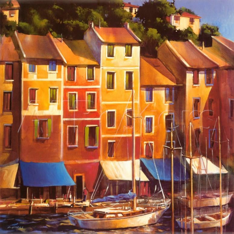 Modern Art Landscape Venice Boats Painting with oil Portofino Waterfront Reproduction canvas High quality hand painted image