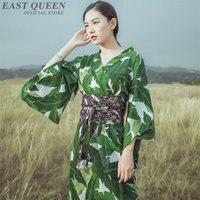 Traditional japanese kimonos new feeling clothes kimono robe yukata floral print green fashion womens kimonos AA3833