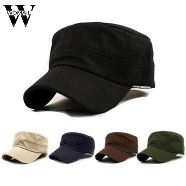 fe2310a2912 1PC Fashion Men Women Multicolor Unisex Adjustable Classic Style Plain Flat  Vintage Army Hat Cadet Patrol Cap Best QG3 Hot Sale