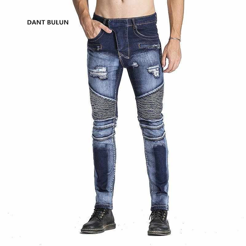 the best attitude 6fdf8 af669 High-quality Men Fashion Distressed Ripped Skinny Jeans Slim Fit Motorcycle  Moto Biker Jeans Elastic Denim Hip hop Punk Jeans