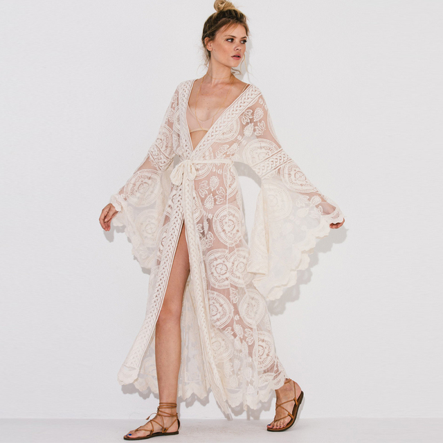 TEELYNN Kimono long sleeve Boho blouse lace floral embroidery blouse sexy Wrap Cardigan beach wear Gypsy blouses for women blusa