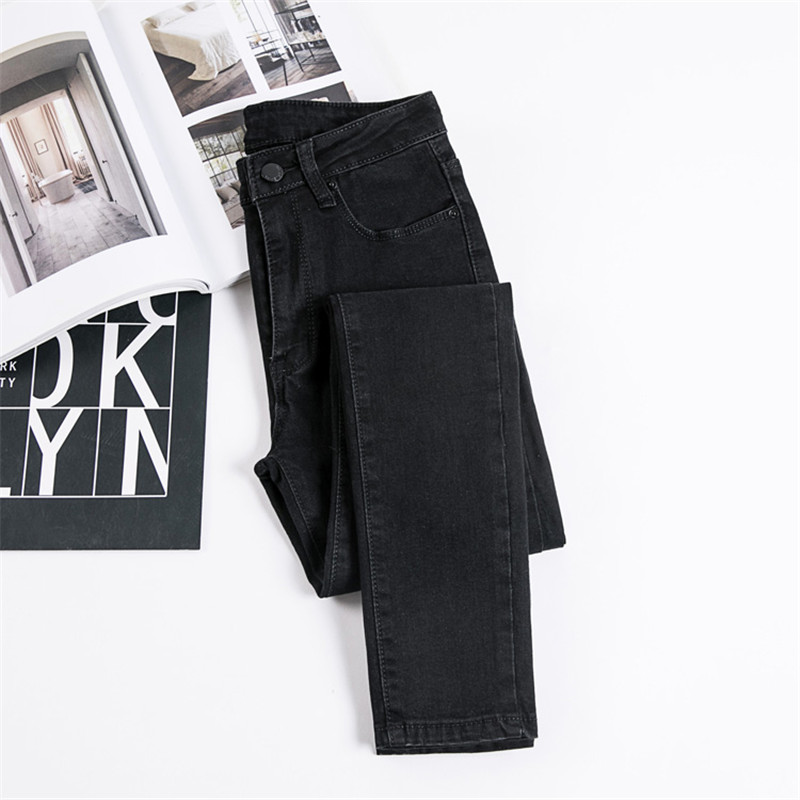 JUJULAND Jeans Female Denim Pants Black Color Womens Jeans Donna Stretch Bottoms Skinny Pants For Women Trousers 8175 8
