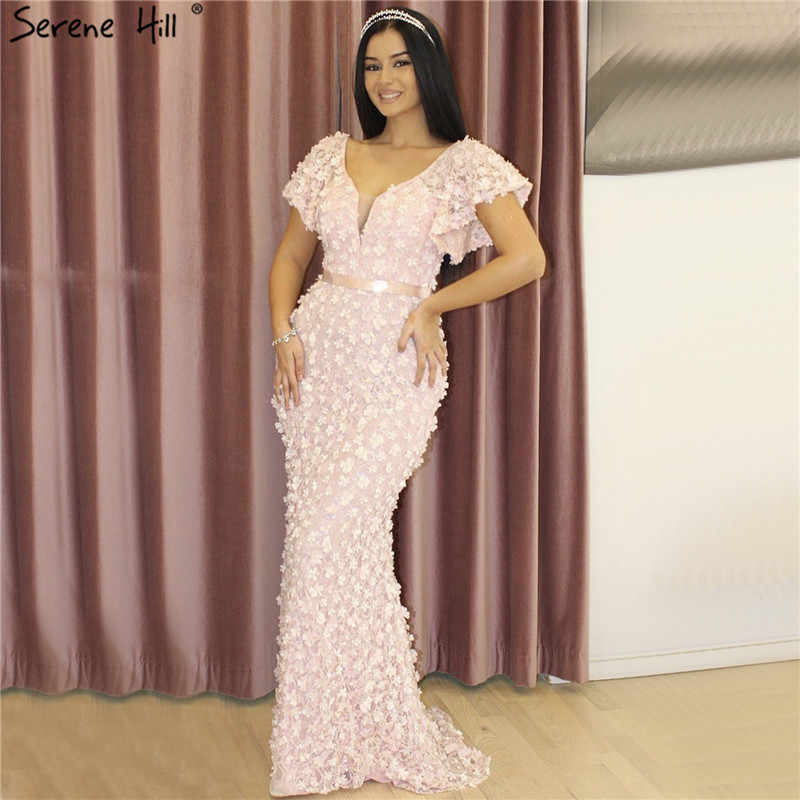0787954d8 ... Sexy Mermaid Short Sleeves Luxury Evening Dresses Flowers Lace Pearls  Fashion Elegant Evening Gowns 2019 Serene