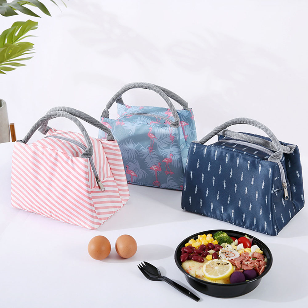 Animal Bird Lunch Bags Women Portable Functional Canvas Stripe Insulated Thermal Food Picnic Kids Cooler Lunch Box Bag Tote