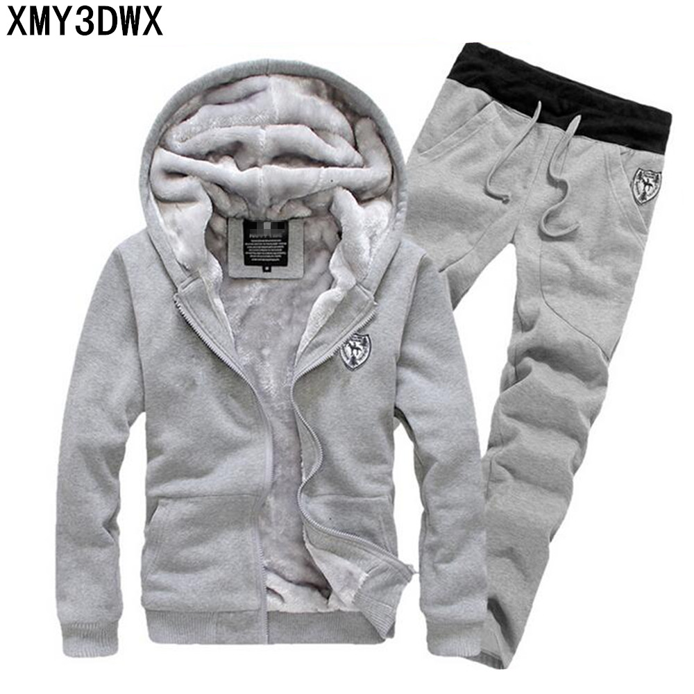 2019 winter men's sets/South Korean men tight thin cotton fashion leisure wool warm suits/brand  hoodies + pants