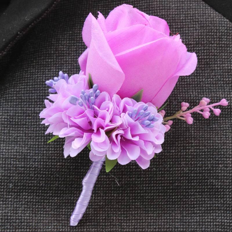 Mejor hombre boda Boutonniere marfil blanco púrpura blue10 color ...