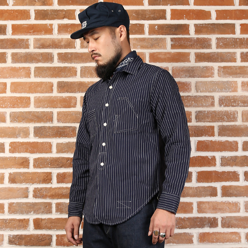 9a0e17d6 US $80.63 28% OFF|Vintage Bronson Stripe Work Shirts Back To Old Time 1920s  Men's Blue White Stripe Long Sleeve Shirt-in Casual Shirts from Men's ...