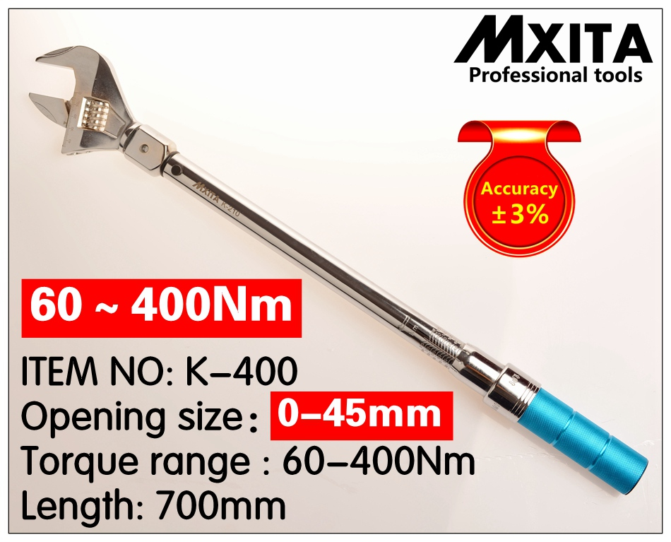 MXITA OPEN Torque Wrench 60-400Nm accuracy 3% Insert Ended head 0-45mm Adjustable Torque Wrench Interchangeable Hand SpannerMXITA OPEN Torque Wrench 60-400Nm accuracy 3% Insert Ended head 0-45mm Adjustable Torque Wrench Interchangeable Hand Spanner