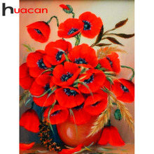 Huacan 5d Flower Diamond Painting Full Drill Round/square Embroidery Cross Stitch Kit Home Decoration Accessories