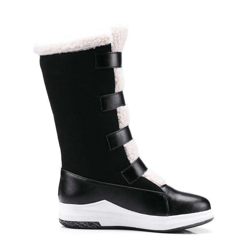 Automne mollet Mi 34 Boucle Med marron Dames Bout Bottes 43 Noir Tasslynn Femmes Rond Talons Chaud Neige Crochet 2018 Chaussures D'hiver nCqC18pwP