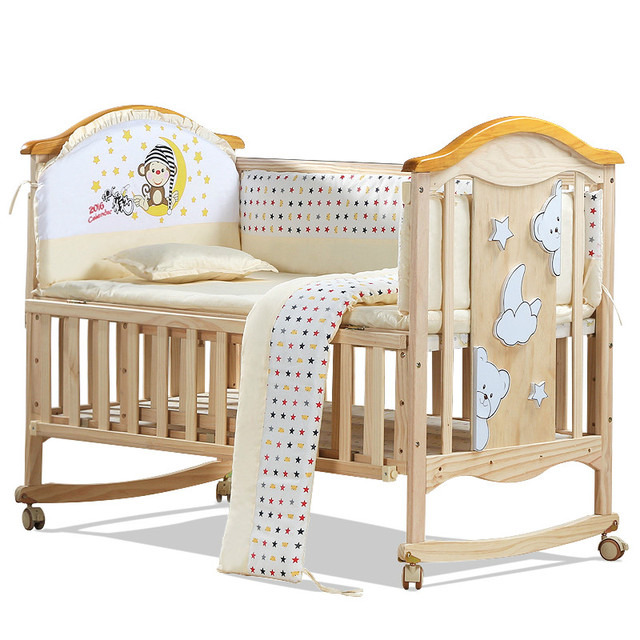 Estilo Europeo ambiental bebé cama de bebé multifuncional cuna de ...