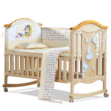 European Style Environmental Baby Bed Multifunctional Baby Crib Solid Wood Baby Cradle Rolling Baby Playpen Crib for Newborn(China)