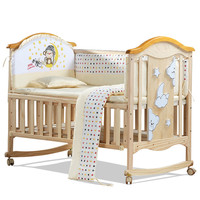 European Style Environmental Baby Bed Multifunctional Baby Crib Solid Wood Baby Cradle Rolling Baby Playpen Crib for Newborn