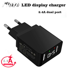 Fiuzd USB Charger 2 Ports LED Display Smart Mobile Phone For iPhone Samsung Xiaomi Tablet Wall Travel Adapter EU Plug