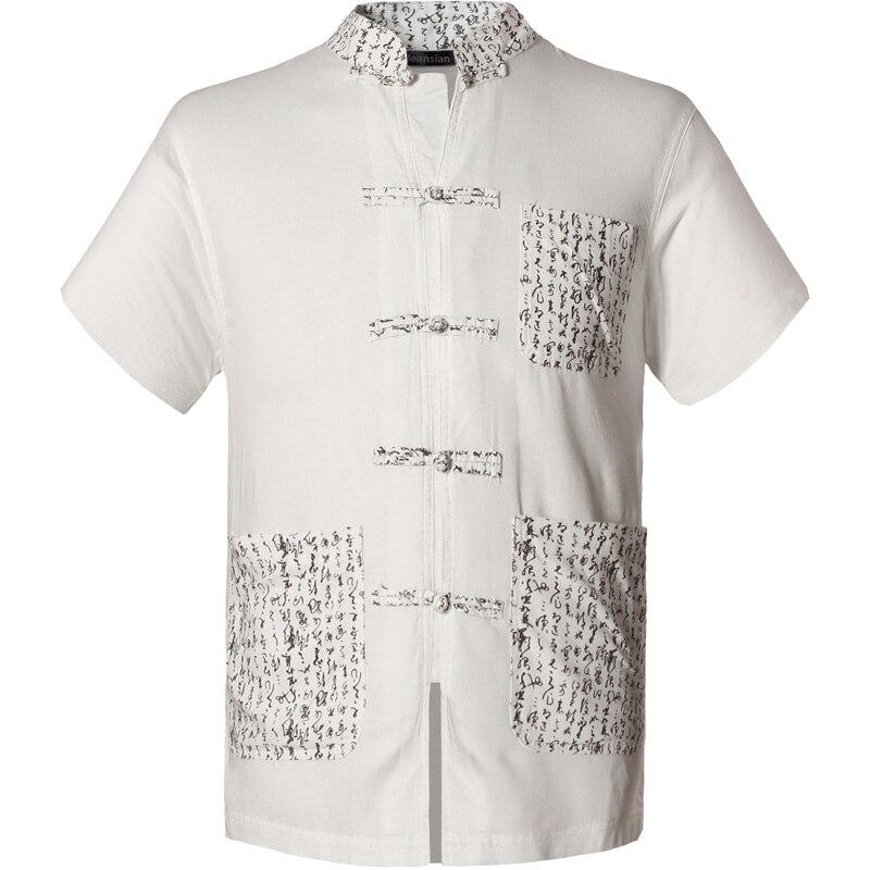 2019 Frühling Herbst Eigenschaften Shirts Männer Casual Chinesischen Traditionellen Kurzen Ärmeln Tang Hemd Männlich Shirts L939 Und Ein Langes Leben Haben. Herrenbekleidung & Zubehör